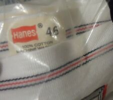 Nos Vtg sz 46 White Cotton Hanes Briefs Red Black Stripe Waistband Usa Made 1977