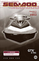 Sea-Doo 2002 GTX 4-TEC Owners Manual Paperback Free Shipping