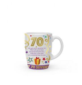 New boxed 70th birthday present gift fine china mug coffee cup Free P+P