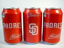 NEW 12 OZ BUD BUDWEISER SD SAN DIEGO PADRES BASEBALL CANS BOTTOM OPEN FREE SHP
