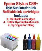 Epson Stylus C88+ 4 Refillable Ink Cartridges 4 100ml Dye Sublimation ink