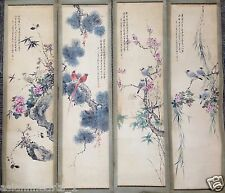 Old Chinese Antique Four Season Scrolls Set Painting Yan Bo Long Signed #340