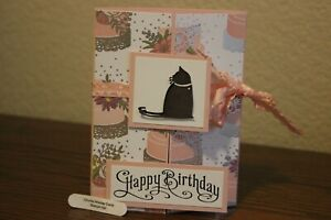 "Stampin Up Dog ""C is for Cat"" homemade greeting card Happy Birthday 8109"