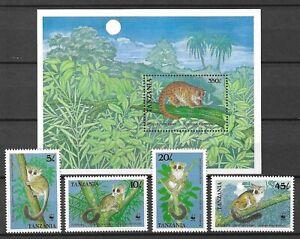 Tanzania 1989 WWF Wildlife Fauna Tiere Dieren Animals compl. set + SS MNH