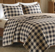 BROWN BLACK CHECKS 3pc King QUILT SET : TAN BUFFALO PLAID COUNTRY CABIN LODGE