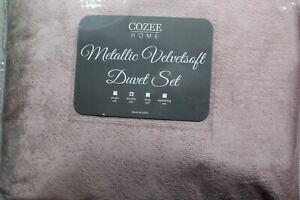 Rose Cozee Home Metallic Foil Velvetsoft 4 piece double duvet set - new