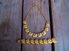 Vintage Lisner Signed Gold Tone Sunflower Necklace Choker Collar Bracelet Set