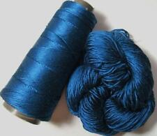 100% Pure Reeled Mulberry Silk Dupion Yarn 50 gram Dark Teal RS010 Lot K