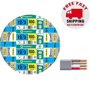 Outdoor Electrical Cable 100 Ft 12-3 Gauge Gray Copper Solid UF-B Burial Wire