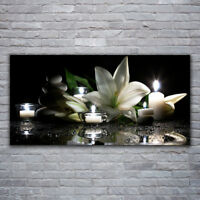Canvas print Wall art on 120x60 Image Picture Stones Flower Candles Art