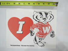 (1) VINTAGE I LOVE UNIVERSITY OF WISCONSIN BADGERS 8.5 X 11 poster