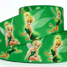 "Grosgrain Ribbon 7/8"" & 1.5"" Tinkerbell Fairy Printed Combine Shipping d green"