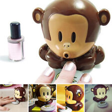 Brown Cute Monkey Shaped Manicure Beauty Hand Nail Polish Blower Dryer LU