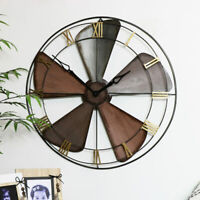 Large fan wall clock rustic retro industrial chic home decor accessories gift