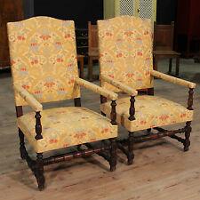 Coppia di poltrone mobile sedie in legno stile antico tessuto antiquariato 900
