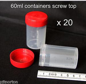 20 x  60ml plastic screw cap container specimen storage sample craft pot bead