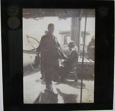 Glass Magic lantern slide FISHERMEN ON BOARD SHIP IN A STORM   c 1910 SCOTLAND