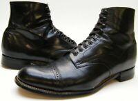 MENS VTG STACY ADAMS BLACK LEATHER CAPTOE DRESS LACE ANKLE BOOTS SHOES 9.5~1/2 D