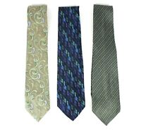 Van Heusen Mens Necktie Lot of 3 Designer Tie Blue 100% Silk L-60 W-3.5 4 NWOT