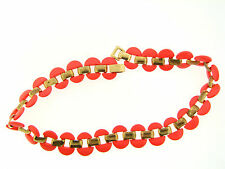 Vintage Gold Plate Neon Peach Orange Paint Coated Open Oval Link Necklace