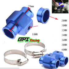 32mm Water Temp Temperature Joint Pipe Sensor Gauge Radiator Hose Adapter Blue