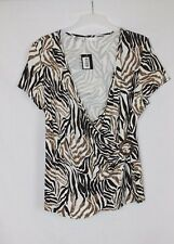 New BHS Brown White Patterned V-Neck Crossover Wrap Style Top size 20