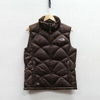 The North Face Quilted Puffer Vest Jacket Womens Medium Brown 550 Down Insulated