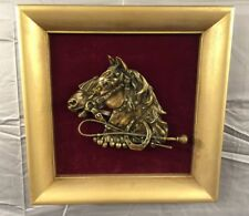 Vintage Brass Horse Plaque in Wood Frame