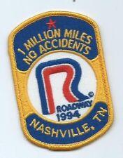 Roadway 1994 Nashville TN 1 million mile no accident driver patch 4X2-5/8 #923