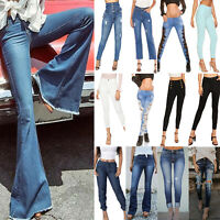 Women's High Waisted Stretchy Denim Jeans Skinny Ladies Trousers Leggings Pants