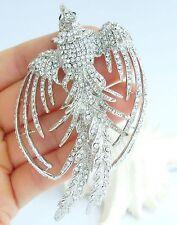 "3.54"" Pretty Phoenix Bird Brooch Pin Clear Austrian Crystal Pendant 02338C1"