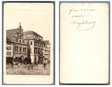 Allemagne, Magdebourg Le marché CDV vintage albumen carte de visite,  Tirage a