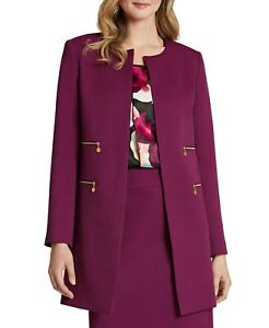 Tahari Asl Zip-Pocket Topper Blazer Jacket Mulberry 14
