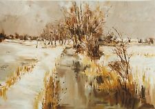 """PIERRE LETELLIER FRENCH LITHOGRAPH """"SNOW ON THE MARSH"""" C 1978"""