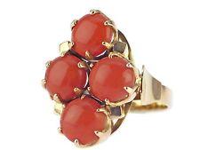 Art Deco 585 Gelb Gold Sizilianische Lachs Koralle Damen Ring !