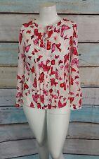 Jones New York Collrction White Pink Pintuck Butterflies Top Blouse Shirt Sz 4