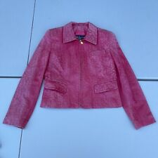 Vintage Burberrys Ostrich Leather Jacket Womens 6 Pink Aged Patina Distressed