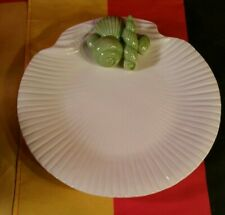 "Vintage Fitz & Floyd 9"" White Clam Plate With Green Shellfish Mcmlxxv Ff"