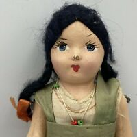 Vintage Composition Ethnic Girl Doll Dress & Long Black Braids 8 1/2""