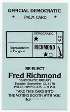 1978 FRED RICHMOND New York City CONGRESS US HOUSE Political POLL Palm Card NY