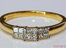 Diamond Three-Stone Yellow Gold 14k Engagement Rings