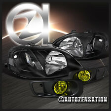 Fit 1999-2000 Honda Civic 2/3/4DR Black Headlights+Yellow Fog Bumper Lamp