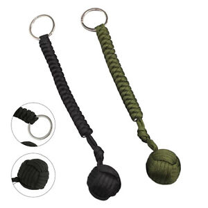 2pc Monkey Fist Paracord Keychain Military Steel Ball Outdoor Tool Self-defense