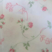 """Lightweight flannel fabric remnant WHITE pink floral 12"""" x 62"""" scrap roses"""