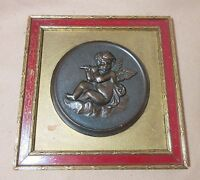 antique 19th century hand tooled bronze angel cherub putti wall plaque statue ,