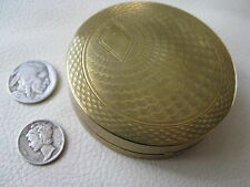 Vintage Gold Tone Powder Rouge 2 Puffs Double Compact DJER KISS