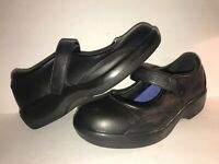 APEX SZ 9 1/2 BLACK LEATHER MARY JANE WEDGE HEEL WOMEN SHOES WS11-5-9