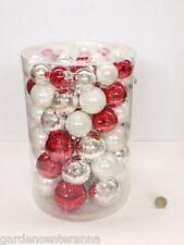 Box 60 palline vetro argento/bianco/rosso 4/5/6/7cm ★ Inge-Glas Albero Natale