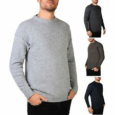 Mens Soft Knitted Round Crew Neck Warm Jumper Sweater Grandad Pullover Top