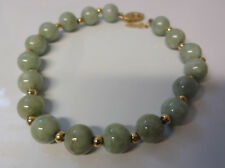 Antique 14k Gold Clasp & Beads Chinese Natural Jade Bracelet